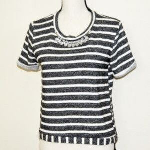 Blu Pepper Gray Striped Sweat Shirt Size S